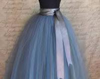 designer long blue tutu gown