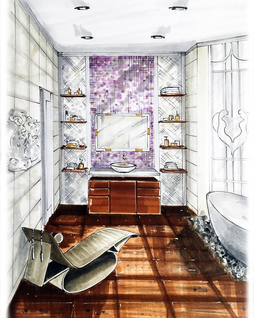 13-Luxurious-Bathroom-Natalia-Pristenskaya-Дизайнер-интерьеров-Interior-Design-Sketches-www-designstack-co