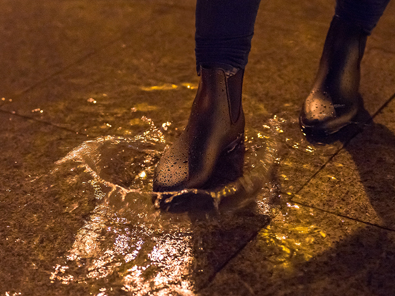 Euriental   fashion & luxury travel   rain boots and oversized grey coat in Shanghai