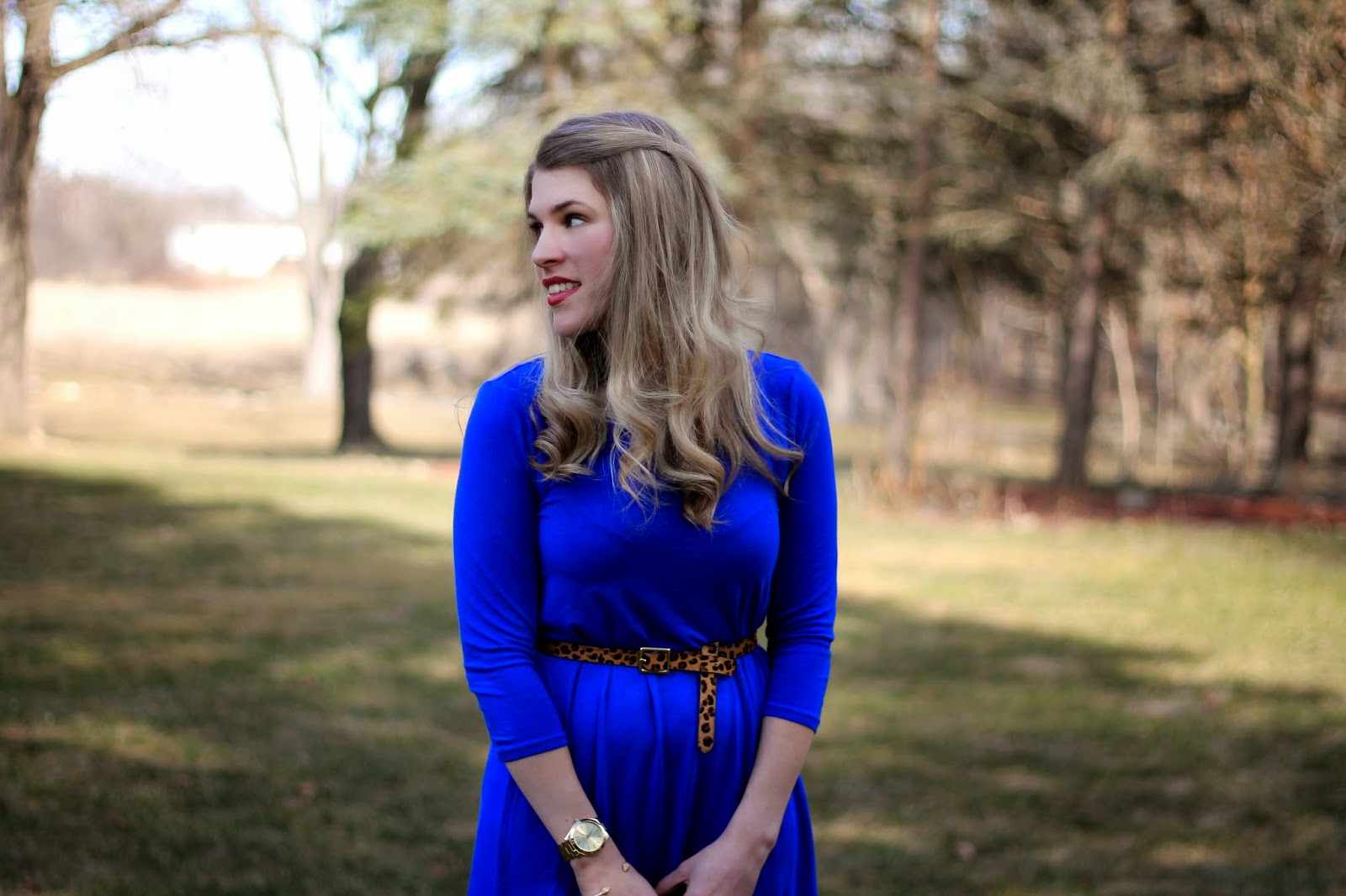 kika cobalt blue dress leopard heels and belt