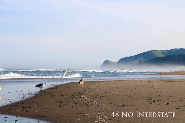 48 No Interstate back roads cross country coast-to-coast road trip Lincoln City, Oregon beach Pacific Northwest