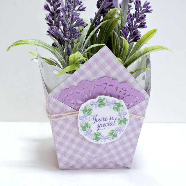 Lavender Breeze Potted Plant Favor Box Side Detail 2 by Dana Tatar for FabScraps
