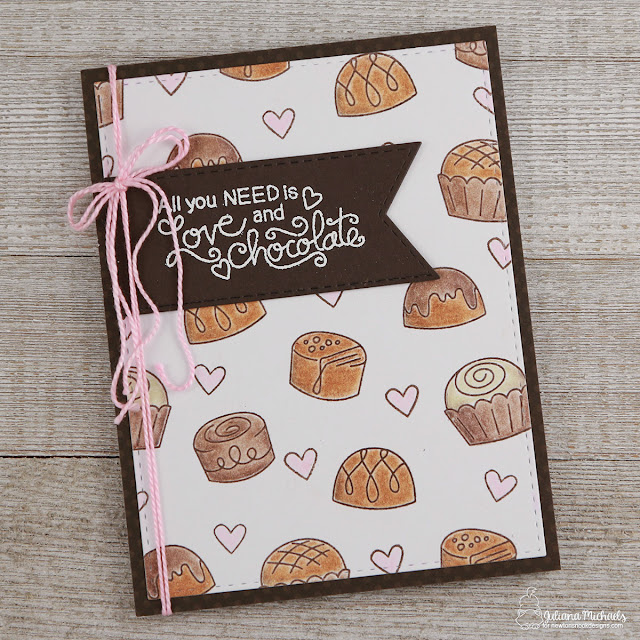 Love and Chocolate Valentine's Day Card with stamped background paper using Newton's Nook Designs Love and Chocolate Stamp Set by Juliana Michaels