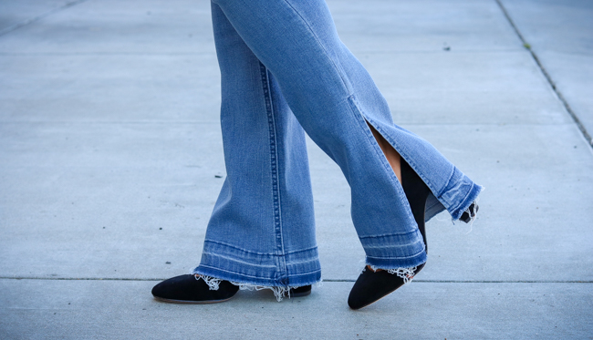wit and wisdom side slit flared jeans black suede pumps