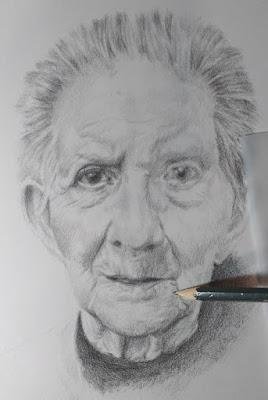 Proceso de un dibujo a lápiz.