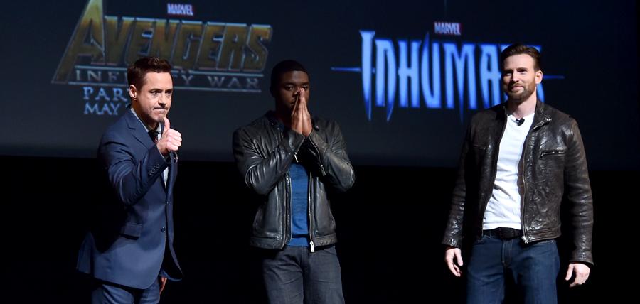 Robert Downey Jr, Chadwick Boseman şi Chris Evans la prezentarea Marvel de ieri