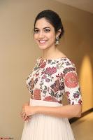 Ritu Varma smiling face Cream Anarkali dress at launch of OPPO New Selfie Camera F3 ~  Exclusive 095.JPG