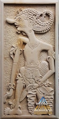 Relief batu alam paras jogja / batu alam paras putih motif wayang antasena