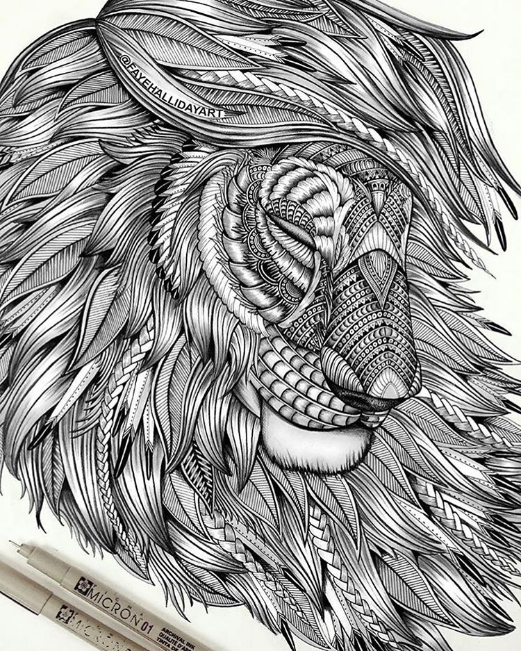 11-Lion-Faye-Halliday-Haathi-Detailed-Drawings-Representing-Complex-Animal-www-designstack-co