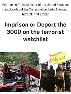 A petition screenshot saying: Imprison or deport the 3000 on the terrorist watchlist