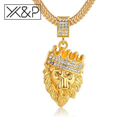 FR74 Fashion Gold Alloy Inlay Rhinestone Long Necklace Pendants for Women Farouk's