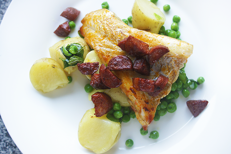 cod-chorizo-minted-peas-new-potatoes-recipe