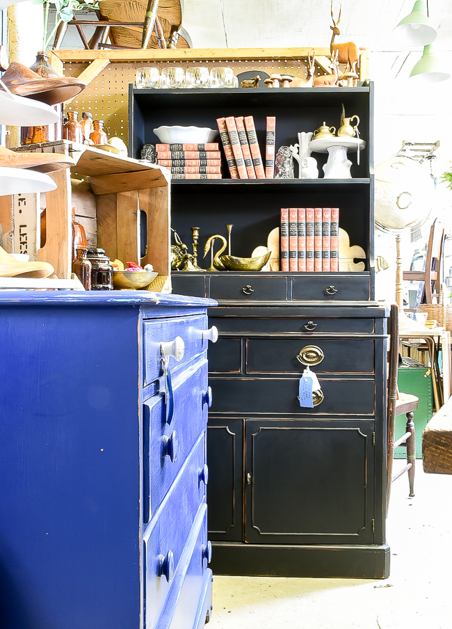 Black painted vintage hutch
