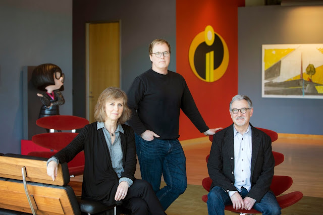 Incredibles 2 Brad Bird, Nicole Grindle and John Walker at Pixar Animation Studios
