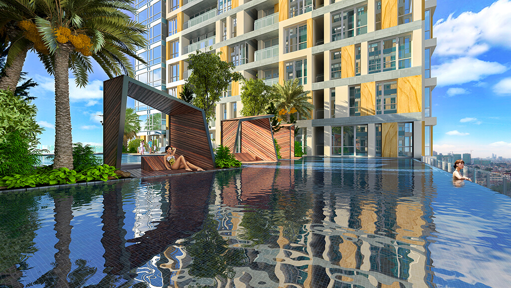 Bể bơi ngoài trời dự án chung cư Goldlight City Complex Khuất Duy Tiến