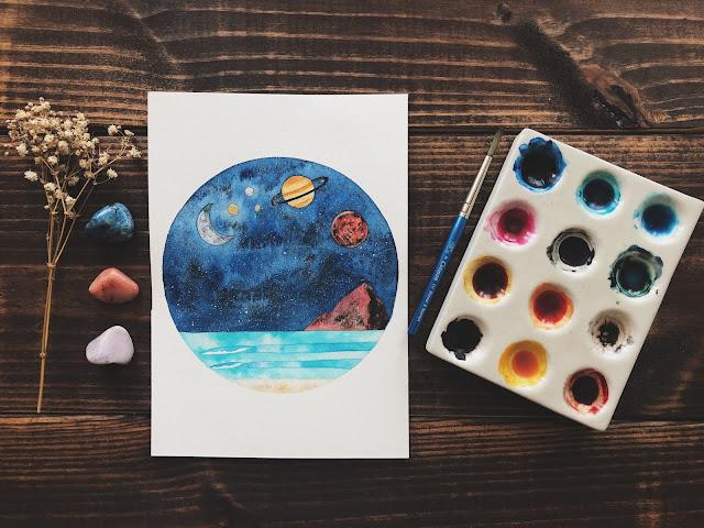Watercolor Art - Watercolor Galaxy - Watercolor Planetarium - Watercolor Moon - Watercolor Beach - Art Blog - theartsyboho.com