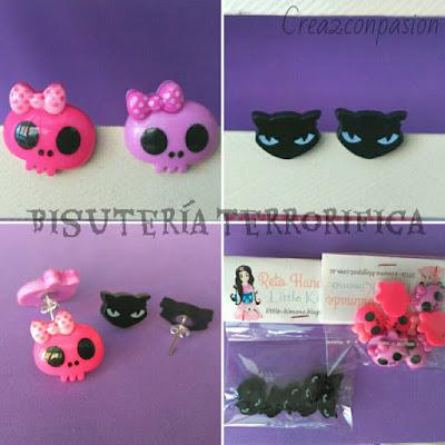 Pendientes-halloween-tipo-botón-calaveras-murciélagos