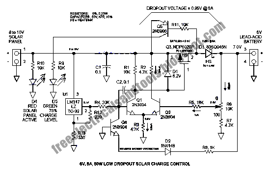 Free Schematic Diagram: 6V LDO Solar Charge Control Circuit