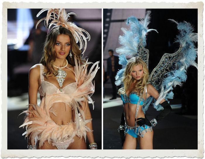Bregje Heinen e Magdalena Frackowiak nella sfilata in lingerie al Victoria's Secret Fashion Show 2012