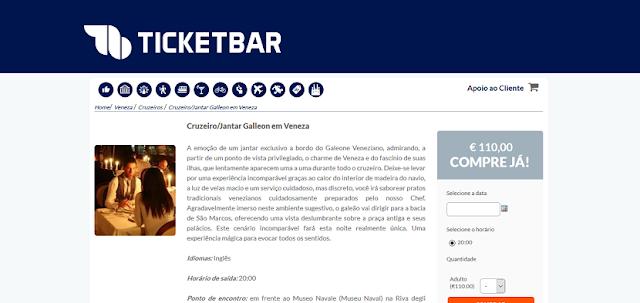 Ticketbar para ingressos para o cruzeiro e jantar no galleon em Veneza