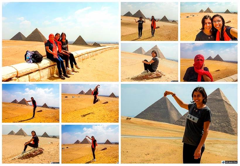 Mil poses em frente para as pirâmide de Gizé - Diário de Bordo: 2 dias no Cairo