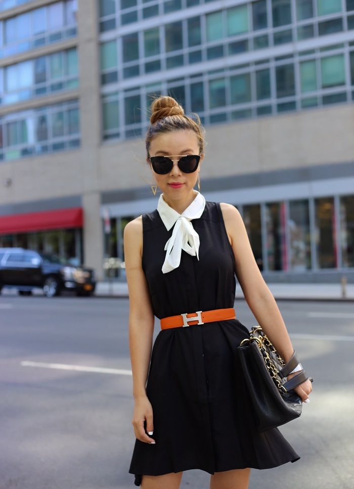 Gmamorous sleeveleass tie neck dress, hermes reversible belt, chanel grand shopper tote, kate spade bow shirt dress, nastygal do it better, prada retro sunglasses, gorjana earrings, hermes bracelet, sophia webster heels, street style, fashion blog, for work and play