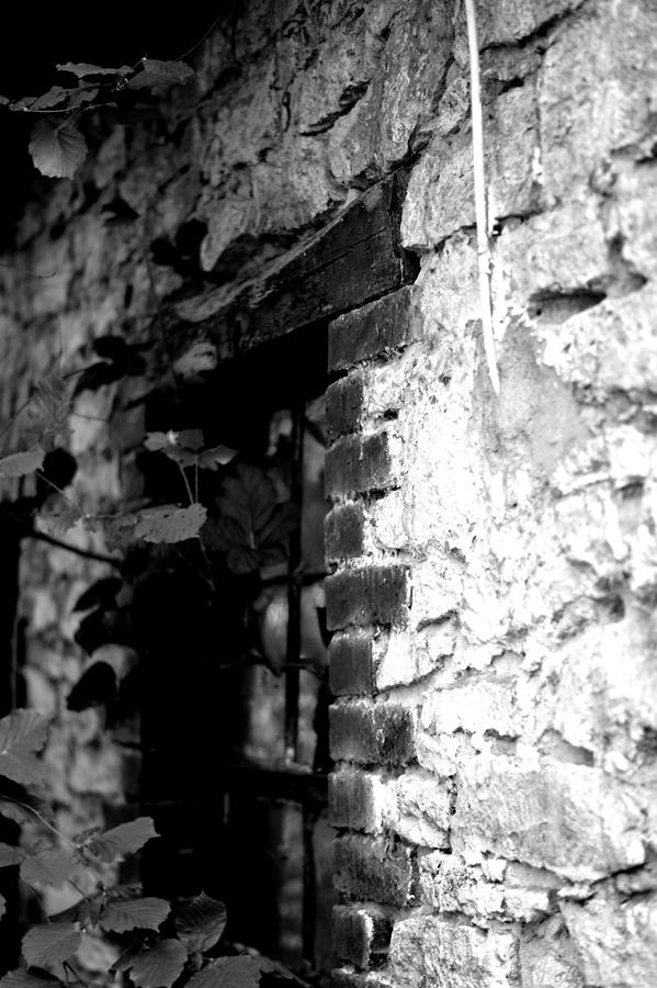 Blog + Fotografie by it's me!  |fim.works | SchwarzWeissBlick No 17 | verlassenes Gehöft | Lost Place | Steinmauer | altes Fenster