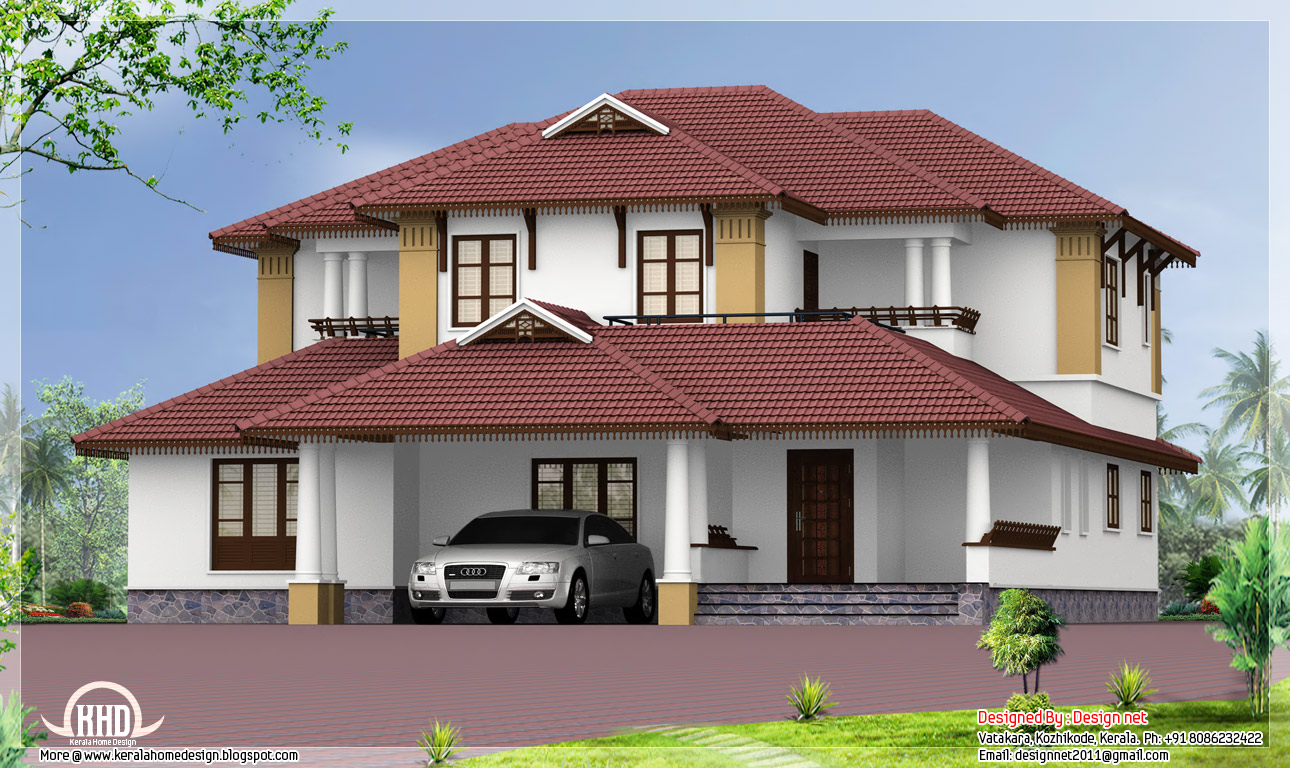 kerala style traditional sloping roof house