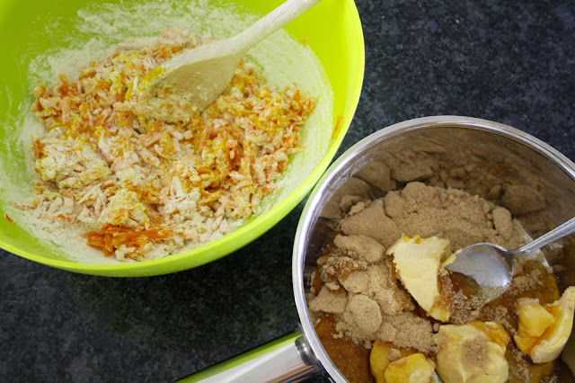 carrot cake recipe method mixing bowl
