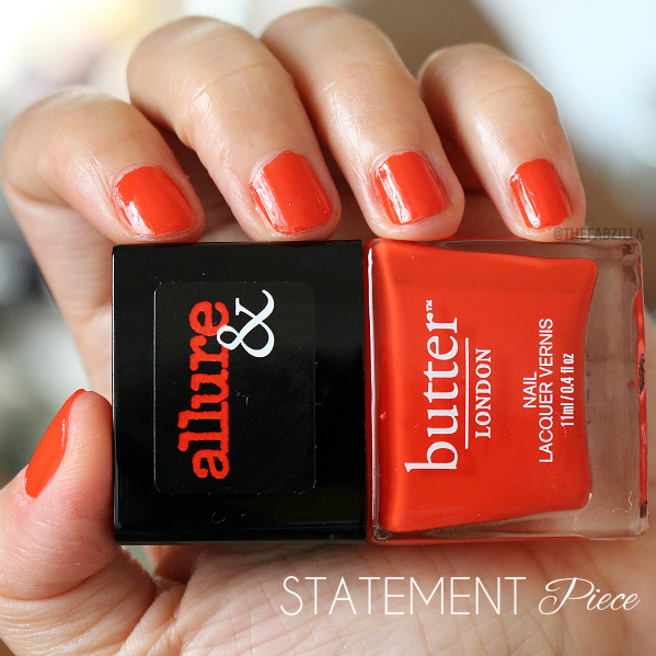 allure and butter london arm candy nail polish collection, swatch, review, giveaway, fall 2015 nail polish collection, butter london arm candy statement piece swatch