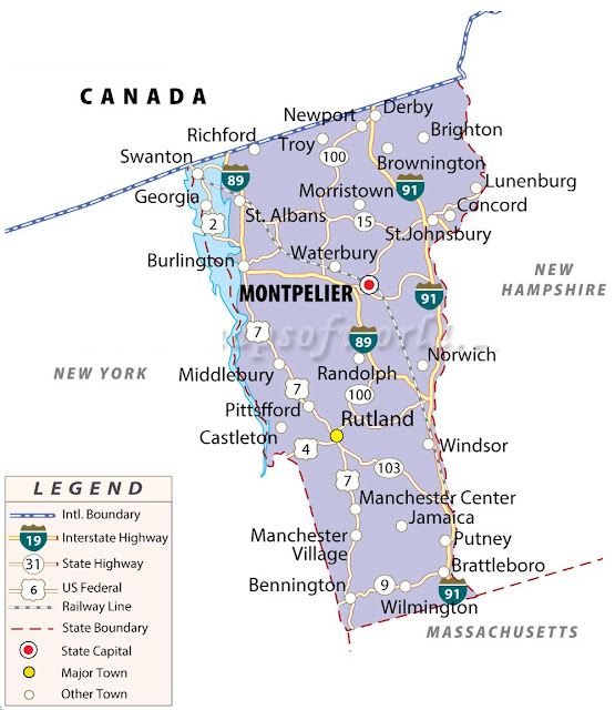 United States Map Map Of USA - Vermont on the us map