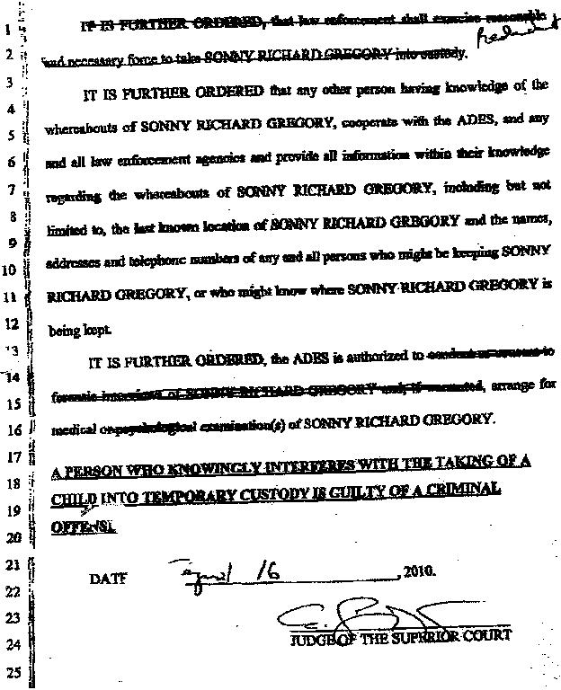 Phoenix, Arizona Government Abuse Of Baby Gregory And His