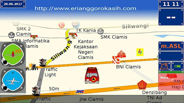 Ilustrasi gps offline android gratis dengan peta Indonesia yang lengkap.