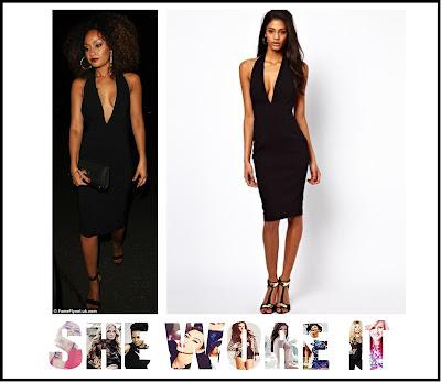 ASOS, Backless, Black, Bodycon, Deep V Neckline, Dress, Halterneck, Hem Detail, Leigh-Anne Pinnock, Little Mix, Pencil Dress, Sleeveless