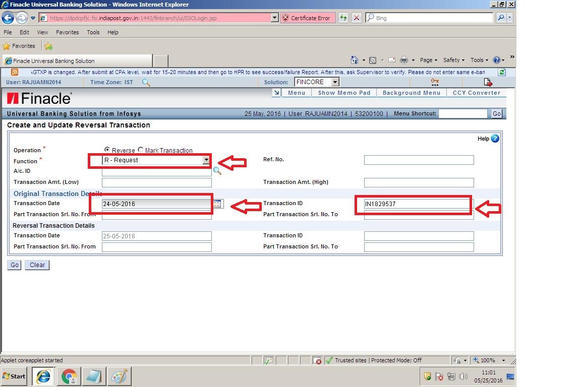 Procedure For Reversal Of Transaction Using Hcrt Menu In Dop Finacle Sa Post