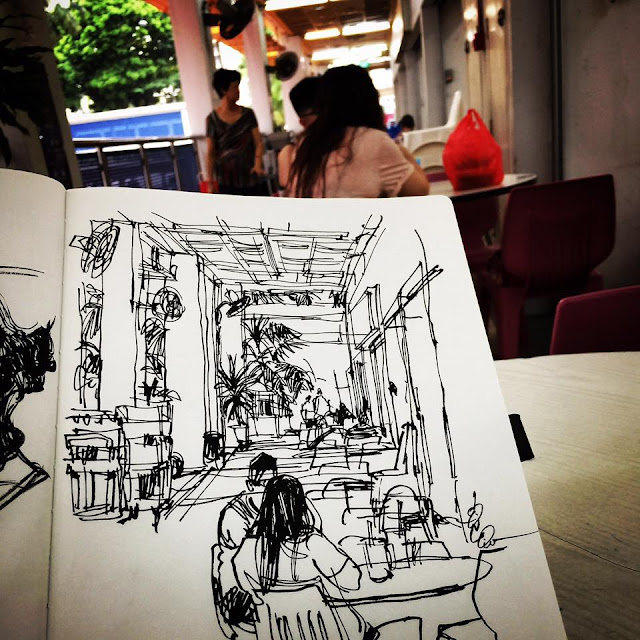 urban sketching at a coffeeshop