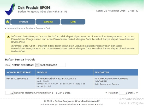 No Registrasi FIFORLIF - BPOM RI