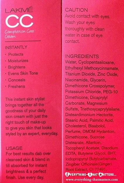 Lakme+CC+Cream+Complexion+Care+Swatch+review