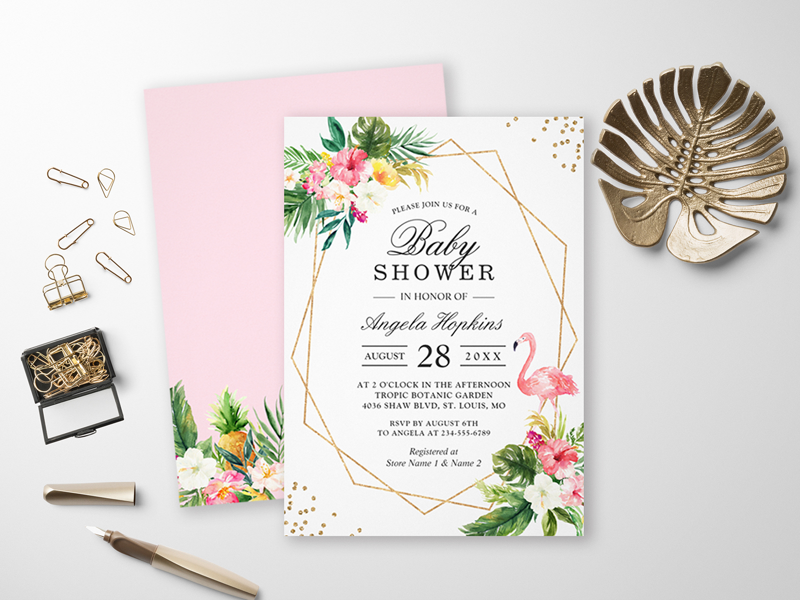 Modern Tropical Baby Shower Invitation