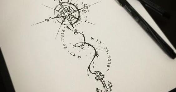 Compass Tattoo Line Drawing : Mysterious compass tattoo designs pop