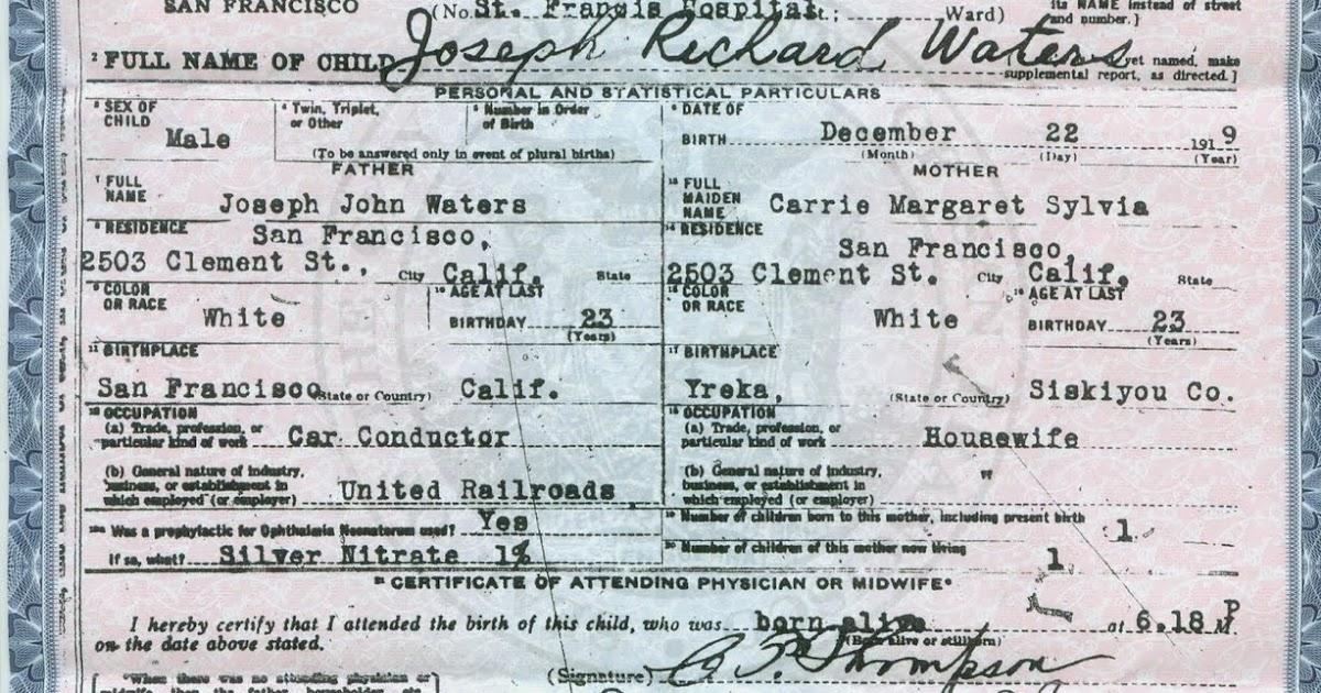 San Francisco County Birth Certificate