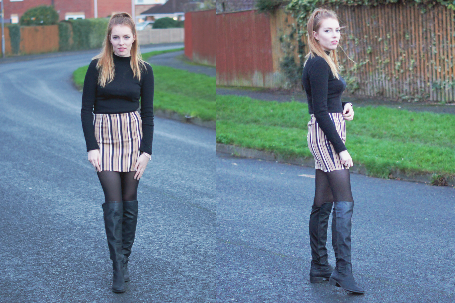 over the knee boots and stripes mini skirt