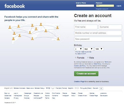 Facebook sign up welcome to facebook