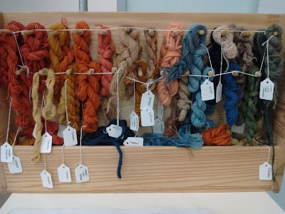 Samples of wool dyed in bright colours