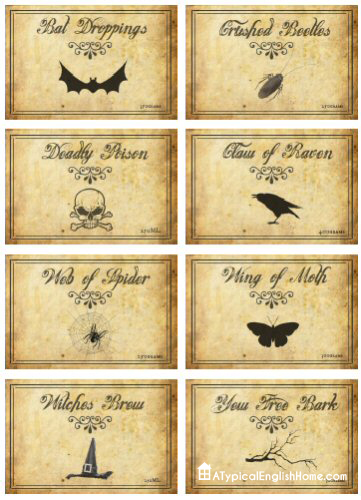 Voodoo School Worksheets : A typical english home printable halloween labels for