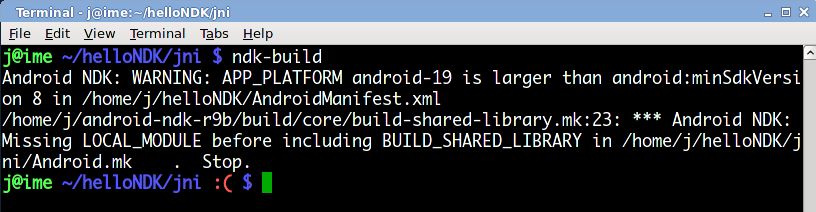 Android NDK: WARNING: APP_PLATFORM android-19 is larger than
