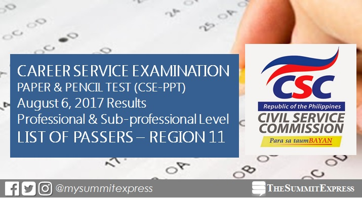 RESULTS: Region 11 Passers in August 2017 Civil Service Exam