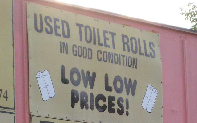 Funny Used Toilet Rolls Sign Picture