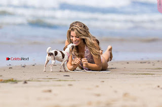 Rachel McCord In Swimsuit seen on the beach with her dog 027 ~ Celebs.in Exclusive