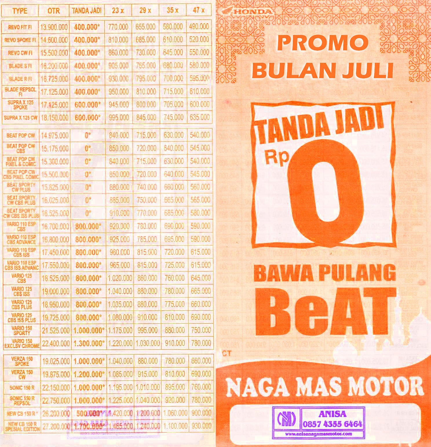 Anisa Counter Sales Dealer Nagamas Motor Klaten All New Beat Sporty Esp Cbs Funk Red Black Kudus Promo Juli